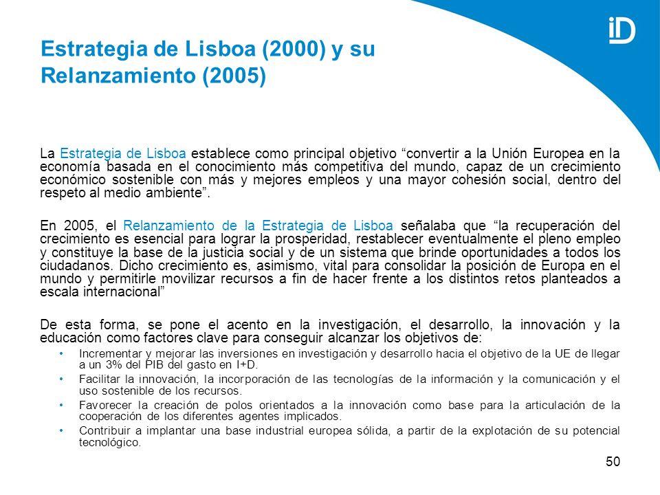 50 Estrategia de Lisboa (2000) y su Relanzamiento (2005) La Estrategia de Lisboa establece como principal objetivo convertir a la Unión Europea en la economía basada en el conocimiento más competitiva del mundo, capaz de un crecimiento económico sostenible con más y mejores empleos y una mayor cohesión social, dentro del respeto al medio ambiente.