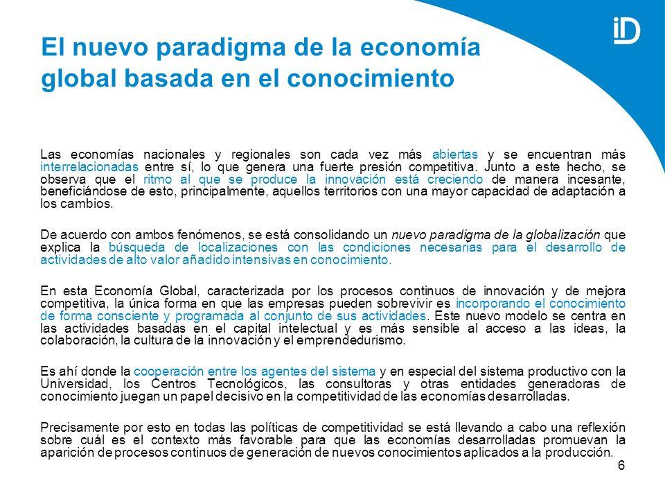 6 El nuevo paradigma de la economía global basada en el conocimiento Las economías nacionales y regionales son cada vez más abiertas y se encuentran más interrelacionadas entre sí, lo que genera una fuerte presión competitiva.