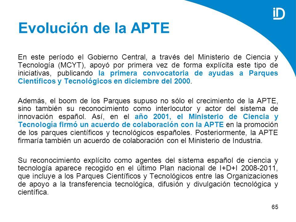 65 Evolución de la APTE En este período el Gobierno Central, a través del Ministerio de Ciencia y Tecnología (MCYT), apoyó por primera vez de forma explícita este tipo de iniciativas, publicando la primera convocatoria de ayudas a Parques Científicos y Tecnológicos en diciembre del 2000.