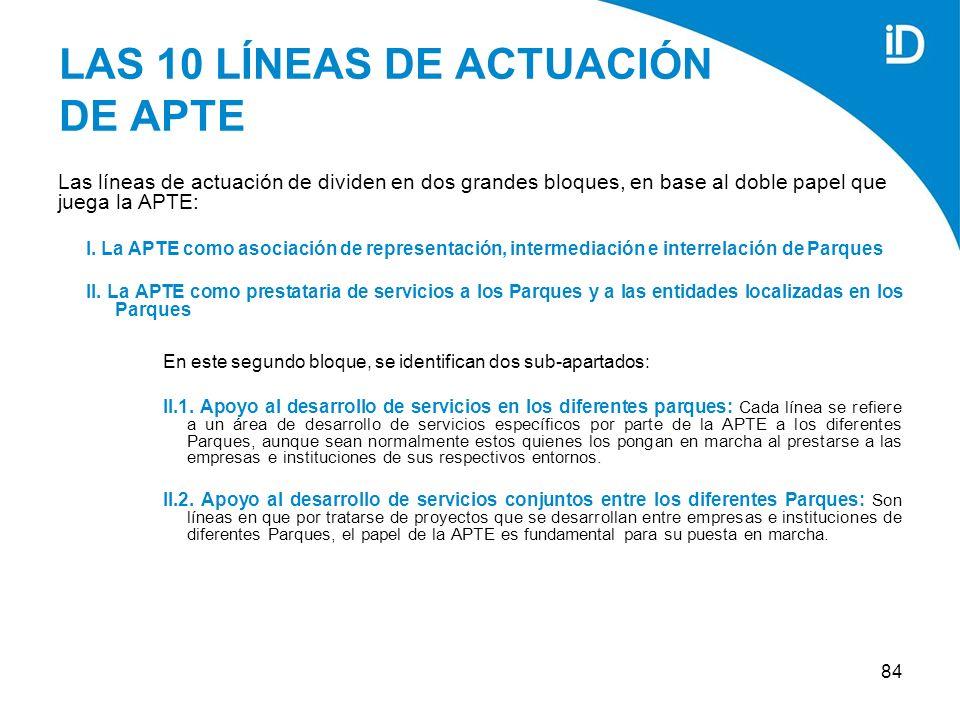 84 LAS 10 LÍNEAS DE ACTUACIÓN DE APTE Las líneas de actuación de dividen en dos grandes bloques, en base al doble papel que juega la APTE: I.