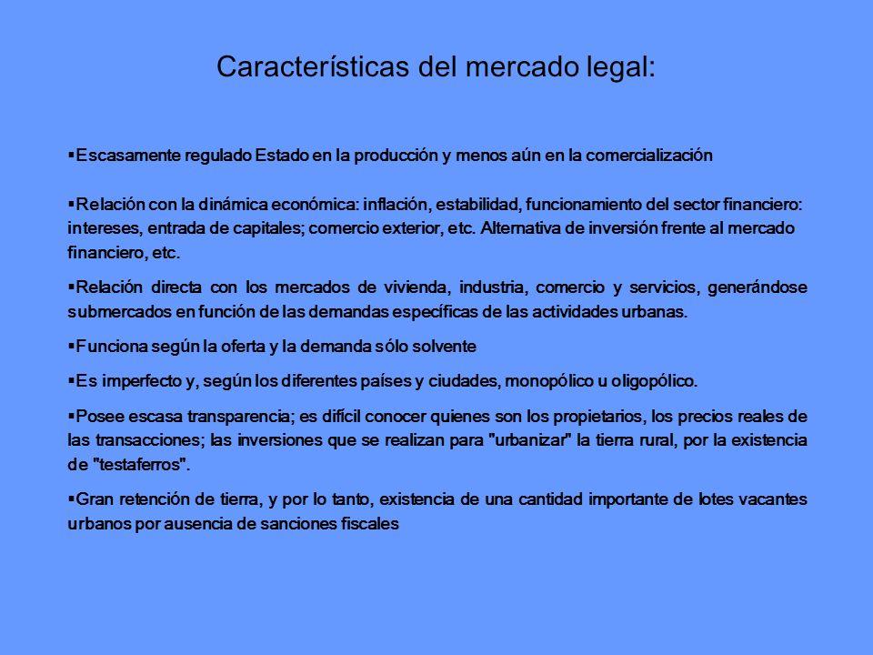 Características del mercado legal: Escasamente regulado Estado en la producci ó n y menos a ú n en la comercializaci ó n Relaci ó n con la din á mica