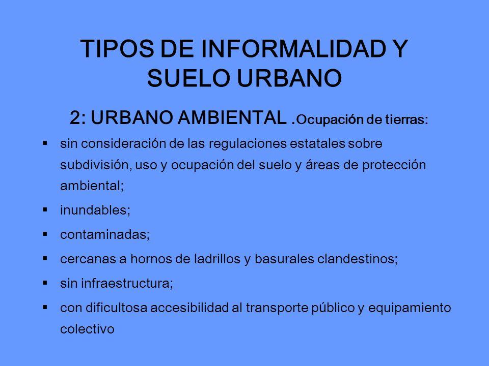 TIPOS DE INFORMALIDAD Y SUELO URBANO 2: URBANO AMBIENTAL. Ocupaci ó n de tierras: sin consideraci ó n de las regulaciones estatales sobre subdivisi ó