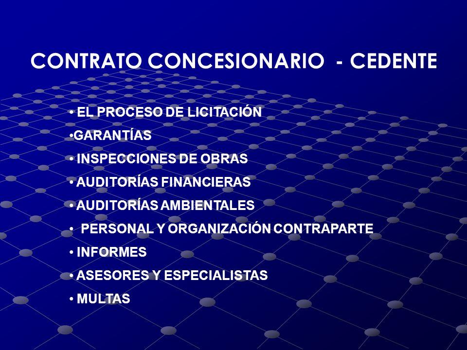 CONTRATO CONCESIONARIO - CEDENTE EL PROCESO DE LICITACIÓN GARANTÍAS INSPECCIONES DE OBRAS AUDITORÍAS FINANCIERAS AUDITORÍAS AMBIENTALES PERSONAL Y ORG