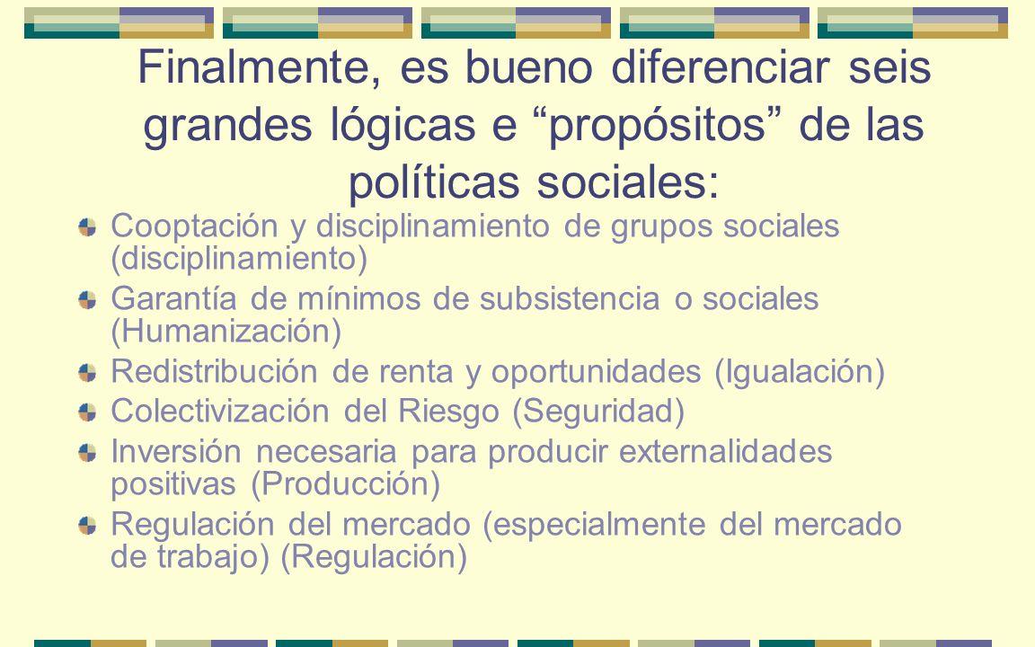 Finalmente, es bueno diferenciar seis grandes lógicas e propósitos de las políticas sociales: Cooptación y disciplinamiento de grupos sociales (discip