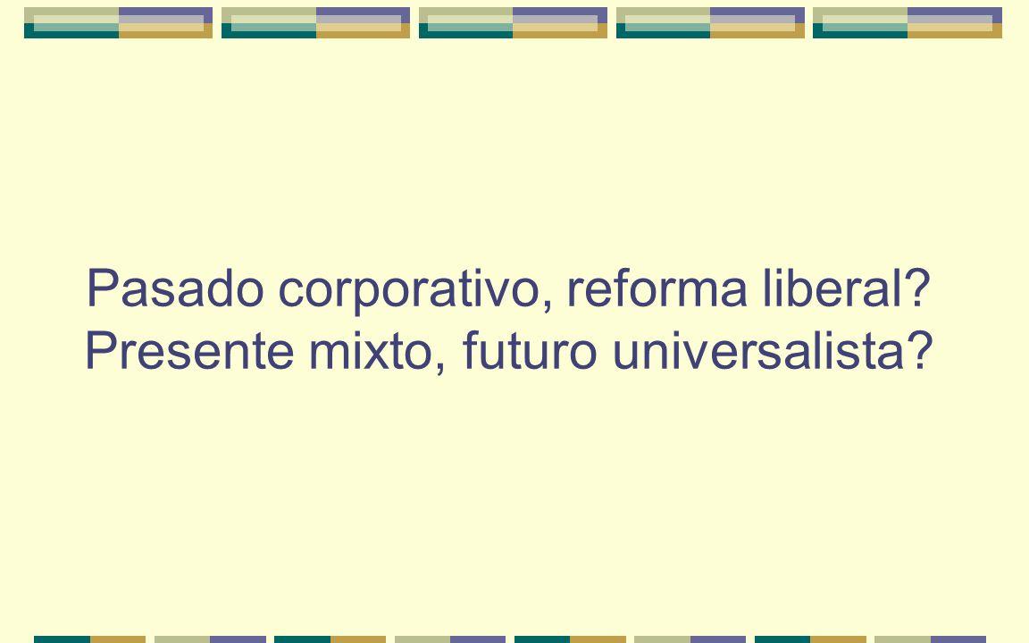 Pasado corporativo, reforma liberal? Presente mixto, futuro universalista?