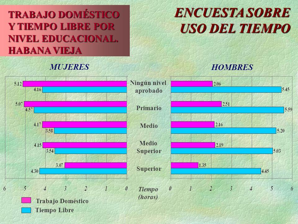 ENCUESTA SOBRE USO DEL TIEMPO TRABAJO DOMÉSTICO Y TIEMPO LIBRE POR NIVEL EDUCACIONAL.