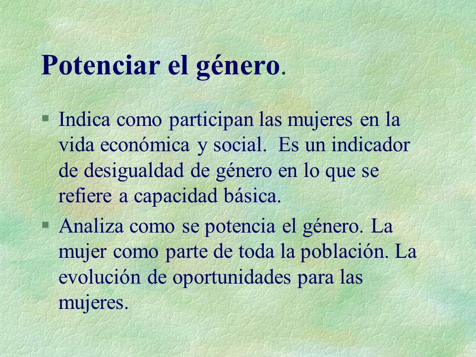 Potenciar el género.§Indica como participan las mujeres en la vida económica y social.