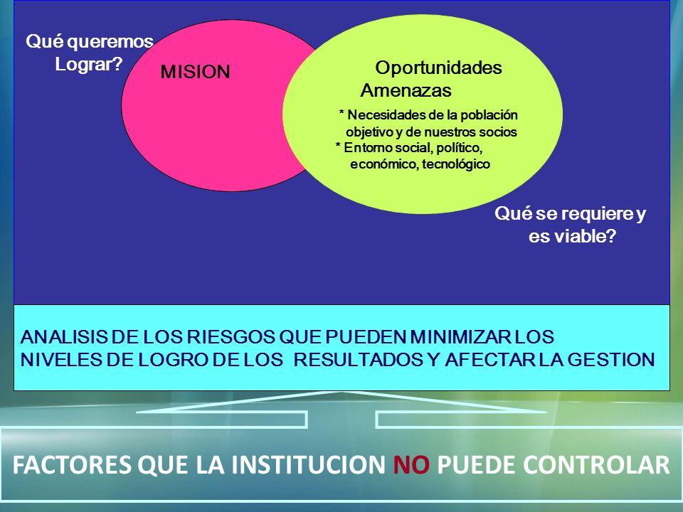 MISION Qué queremos Lograr? Qué se requiere y es viable? MISION Oportunidades Amenazas * Necesidades de la población objetivo y de nuestros socios * E