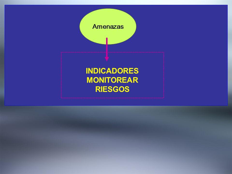 2. DEFINIR EL QUE? Amenazas INDICADORES MONITOREAR RIESGOS