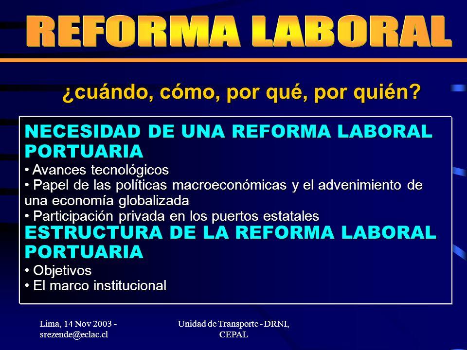 Lima, 14 Nov 2003 - srezende@eclac.cl Unidad de Transporte - DRNI, CEPAL NECESIDAD DE UNA REFORMA LABORAL PORTUARIA Avances tecnológicos Avances tecnológicos Papel de las políticas macroeconómicas y el advenimiento de una economía globalizada Papel de las políticas macroeconómicas y el advenimiento de una economía globalizada Participación privada en los puertos estatales Participación privada en los puertos estatales ESTRUCTURA DE LA REFORMA LABORAL PORTUARIA Objetivos Objetivos El marco institucional El marco institucional ¿cuándo, cómo, por qué, por quién?