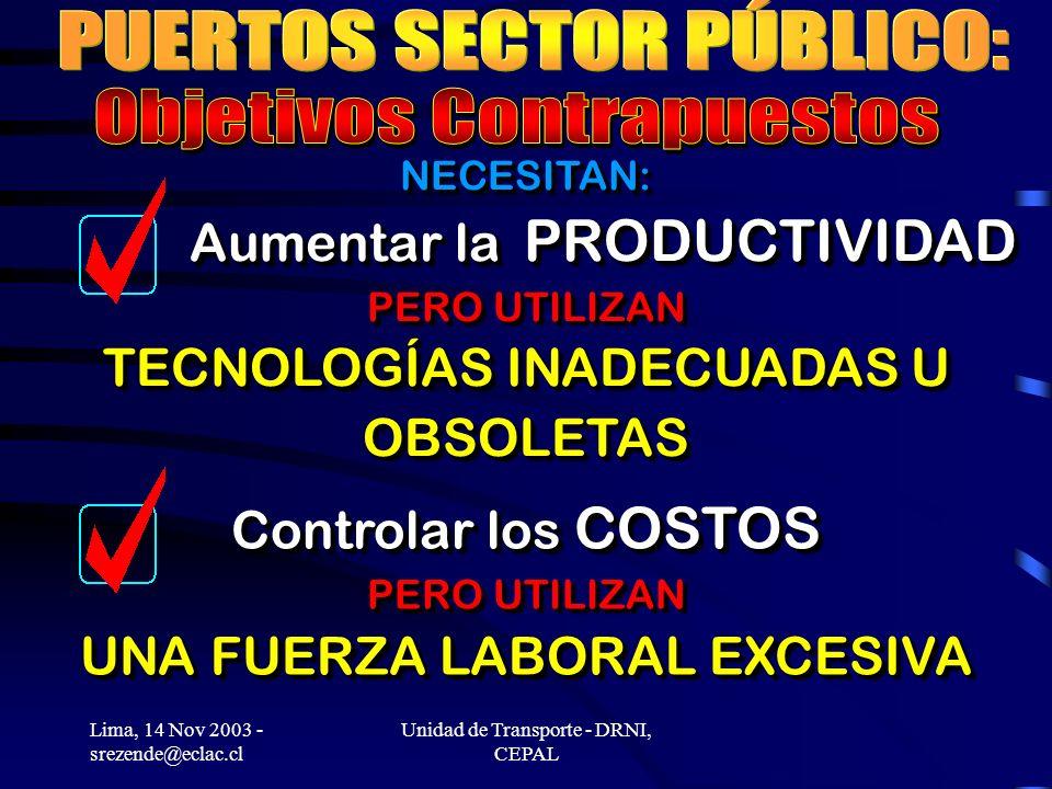 Lima, 14 Nov 2003 - srezende@eclac.cl Unidad de Transporte - DRNI, CEPAL NECESITAN: Aumentar la PRODUCTIVIDAD PERO UTILIZAN TECNOLOGÍAS INADECUADAS U OBSOLETAS Controlar los COSTOS PERO UTILIZAN UNA FUERZA LABORAL EXCESIVA