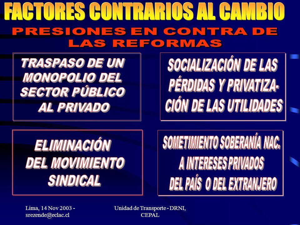 Lima, 14 Nov 2003 - srezende@eclac.cl Unidad de Transporte - DRNI, CEPAL