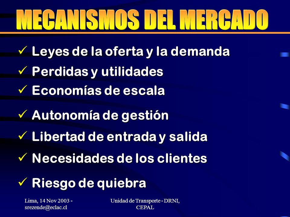 Lima, 14 Nov 2003 - srezende@eclac.cl Unidad de Transporte - DRNI, CEPAL Leyes de la oferta y la demanda Leyes de la oferta y la demanda Perdidas y utilidades Perdidas y utilidades Economías de escala Economías de escala Autonomía de gestión Autonomía de gestión Libertad de entrada y salida Libertad de entrada y salida Necesidades de los clientes Necesidades de los clientes Riesgo de quiebra Riesgo de quiebra