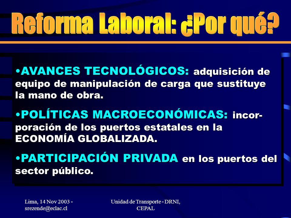 Lima, 14 Nov 2003 - srezende@eclac.cl Unidad de Transporte - DRNI, CEPAL AVANCES TECNOLÓGICOS: adquisición de equipo de manipulación de carga que sustituye la mano de obra.AVANCES TECNOLÓGICOS: adquisición de equipo de manipulación de carga que sustituye la mano de obra.