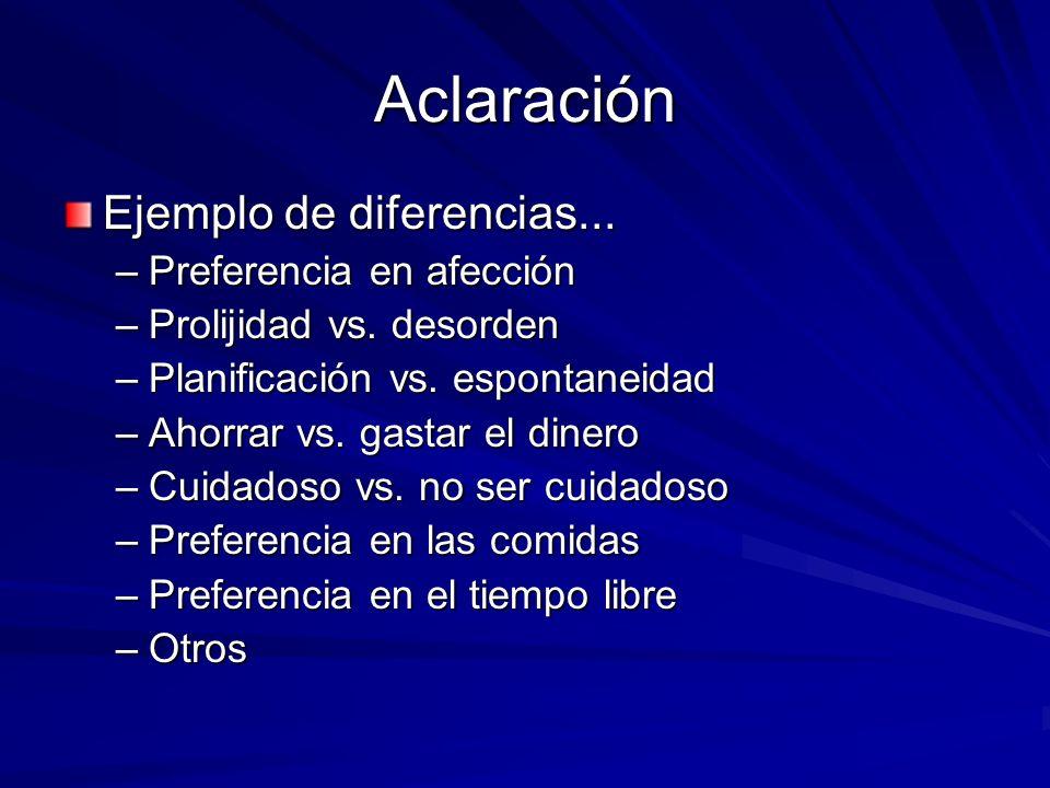 Aclaración Ejemplo de diferencias... –Preferencia en afección –Prolijidad vs. desorden –Planificación vs. espontaneidad –Ahorrar vs. gastar el dinero