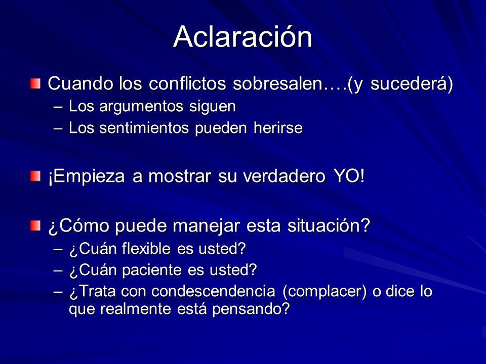 Aclaración Cuando los conflictos sobresalen….(y sucederá) –Los argumentos siguen –Los sentimientos pueden herirse ¡Empieza a mostrar su verdadero YO!