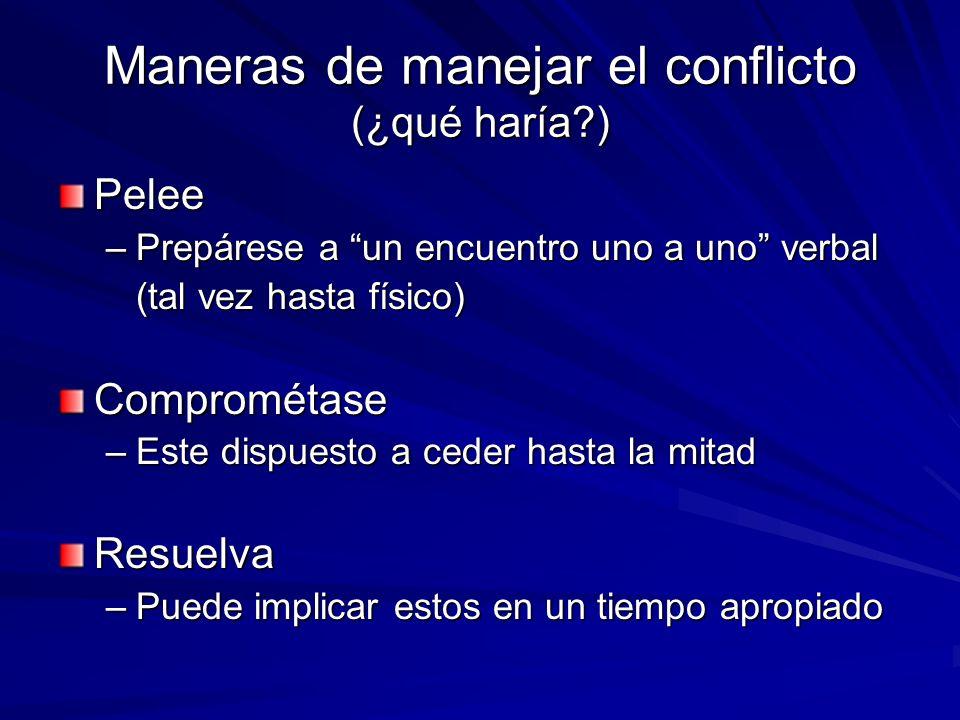 Maneras de manejar el conflicto (¿qué haría?) Pelee –Prepárese a un encuentro uno a uno verbal (tal vez hasta físico) Comprométase –Este dispuesto a c