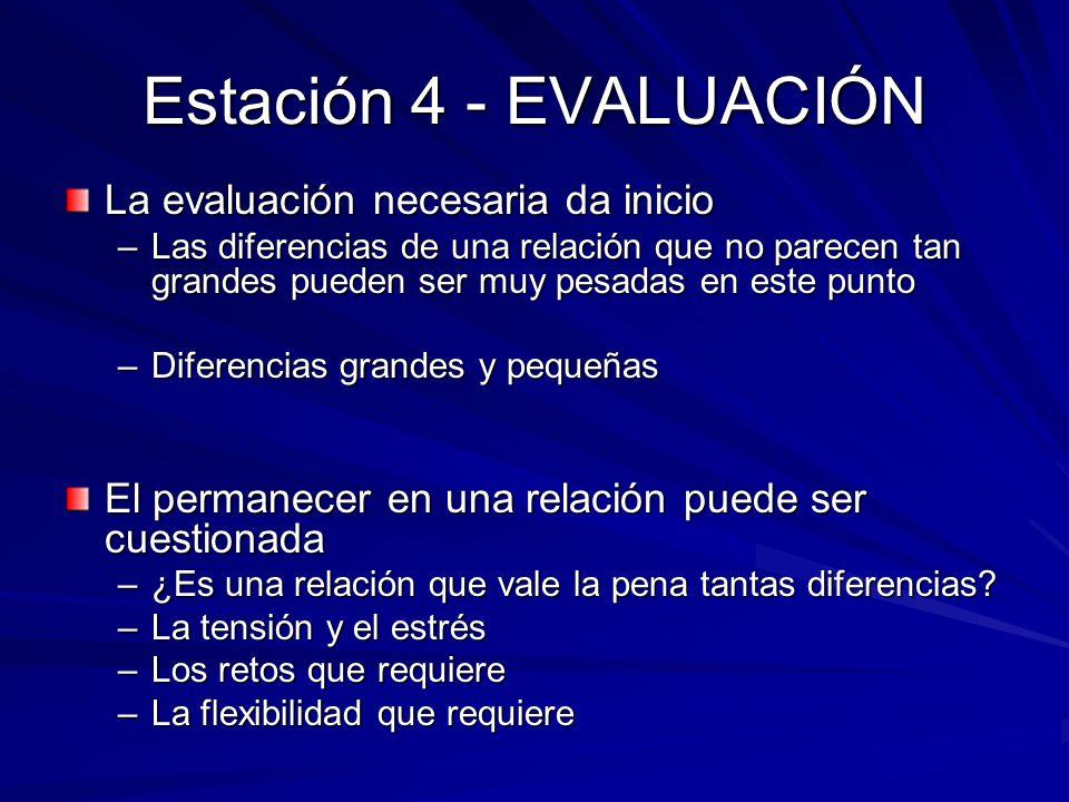 Estación 4 - EVALUACIÓN La evaluación necesaria da inicio –Las diferencias de una relación que no parecen tan grandes pueden ser muy pesadas en este p
