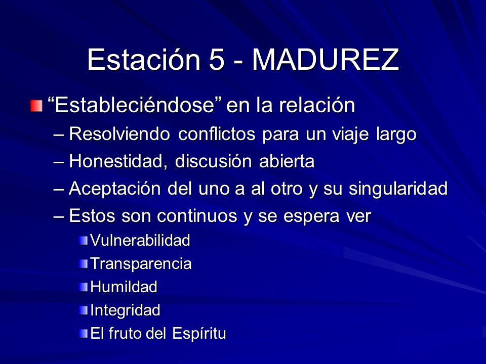 Estación 5 - MADUREZ Estableciéndose en la relación –Resolviendo conflictos para un viaje largo –Honestidad, discusión abierta –Aceptación del uno a a