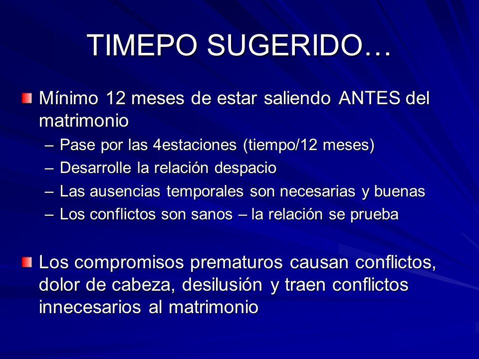 TIMEPO SUGERIDO… Mínimo 12 meses de estar saliendo ANTES del matrimonio –Pase por las 4estaciones (tiempo/12 meses) –Desarrolle la relación despacio –