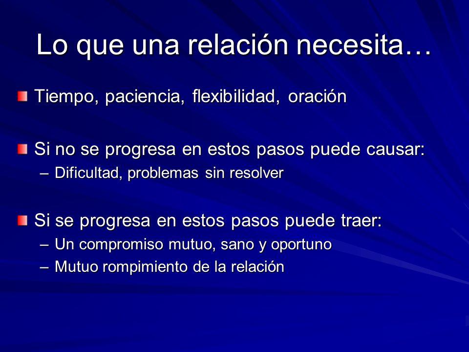 Lo que una relación necesita… Tiempo, paciencia, flexibilidad, oración Si no se progresa en estos pasos puede causar: –Dificultad, problemas sin resol