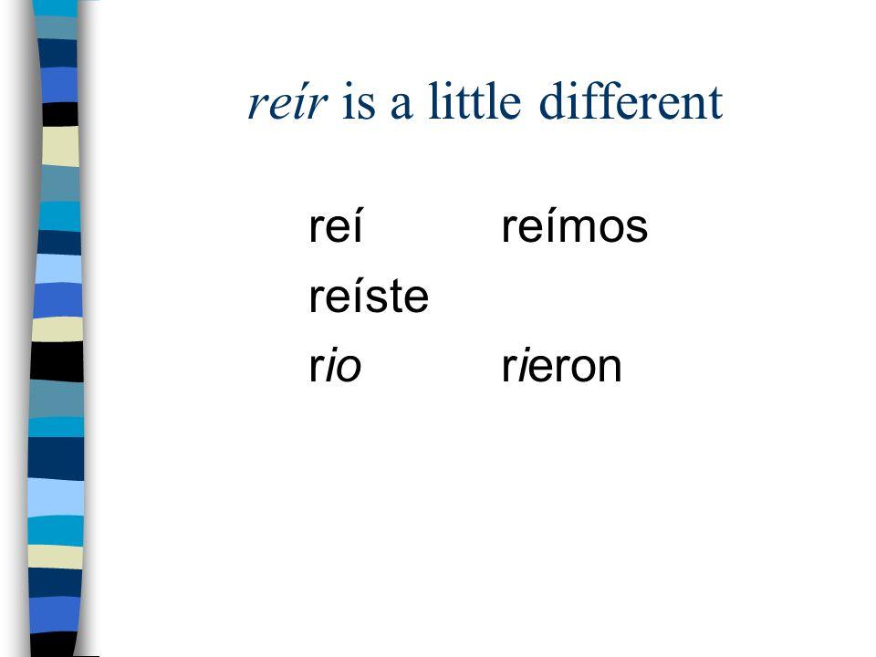 reír is a little different reí reíste rio reímos rieron