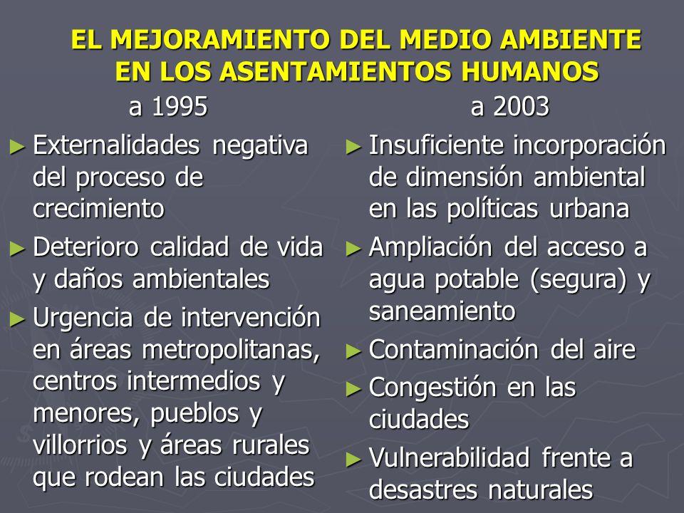 EL MEJORAMIENTO DEL MEDIO AMBIENTE EN LOS ASENTAMIENTOS HUMANOS a 1995 Externalidades negativa del proceso de crecimiento Externalidades negativa del