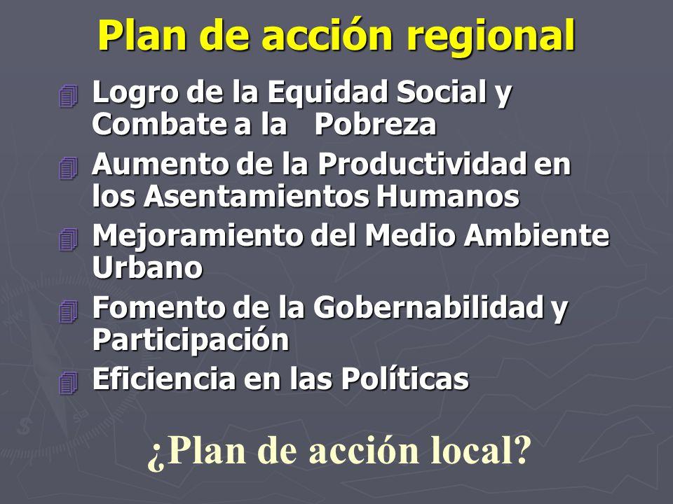 Plan de acción regional 4 Logro de la Equidad Social y Combate a la Pobreza 4 Aumento de la Productividad en los Asentamientos Humanos 4 Mejoramiento