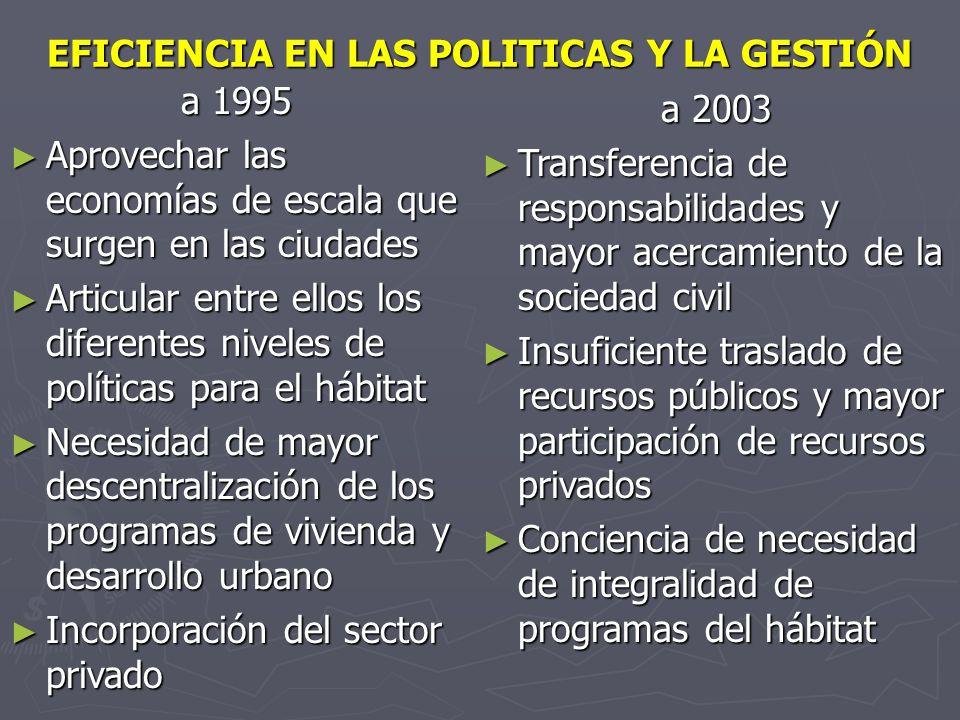 EFICIENCIA EN LAS POLITICAS Y LA GESTIÓN a 1995 Aprovechar las economías de escala que surgen en las ciudades Aprovechar las economías de escala que s