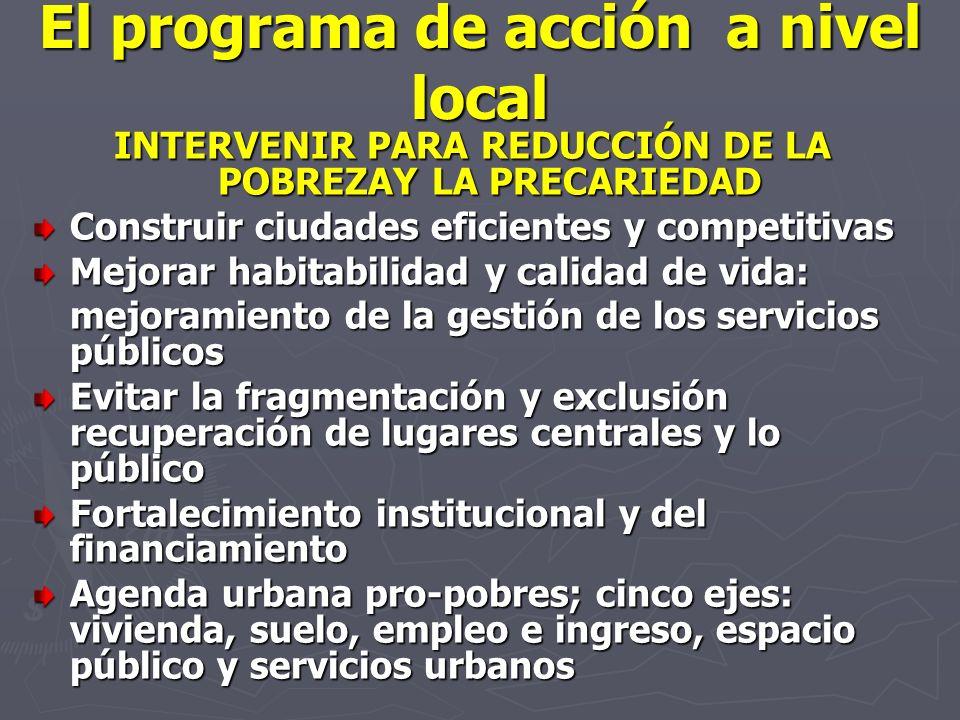 El programa de acción a nivel local INTERVENIR PARA REDUCCIÓN DE LA POBREZAY LA PRECARIEDAD Construir ciudades eficientes y competitivas Mejorar habit