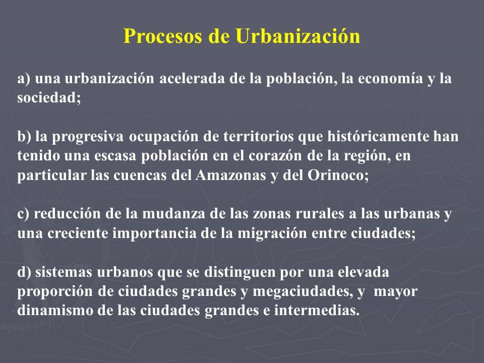 Procesos de Urbanización a) una urbanización acelerada de la población, la economía y la sociedad; b) la progresiva ocupación de territorios que histó