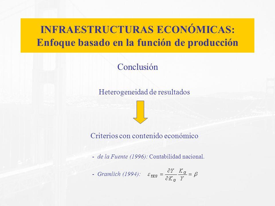 Conclusión Heterogeneidad de resultados Criterios con contenido económico - de la Fuente (1996): Contabilidad nacional. - Gramlich (1994): INFRAESTRUC