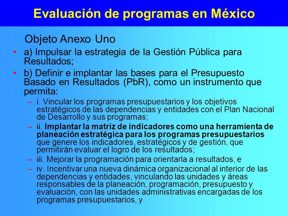 Evaluación de programas en México a) Impulsar la estrategia de la Gestión Pública para Resultados; b) Definir e implantar las bases para el Presupuest