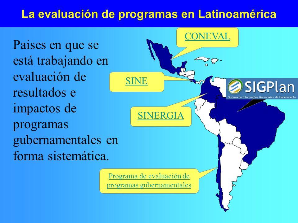 La evaluación de programas en Latinoamérica Paises en que se está trabajando en evaluación de resultados e impactos de programas gubernamentales en fo