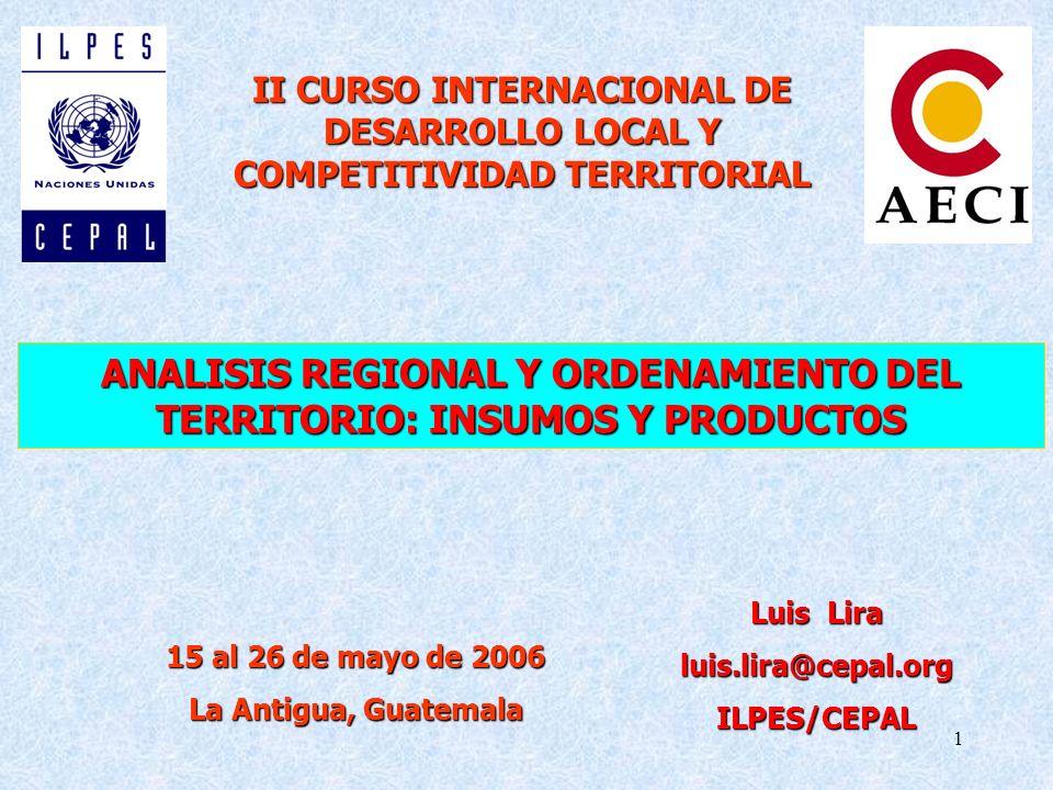 1 ANALISIS REGIONAL Y ORDENAMIENTO DEL TERRITORIO: INSUMOS Y PRODUCTOS II CURSO INTERNACIONAL DE DESARROLLO LOCAL Y COMPETITIVIDAD TERRITORIAL Luis Lira luis.lira@cepal.orgILPES/CEPAL 15 al 26 de mayo de 2006 La Antigua, Guatemala