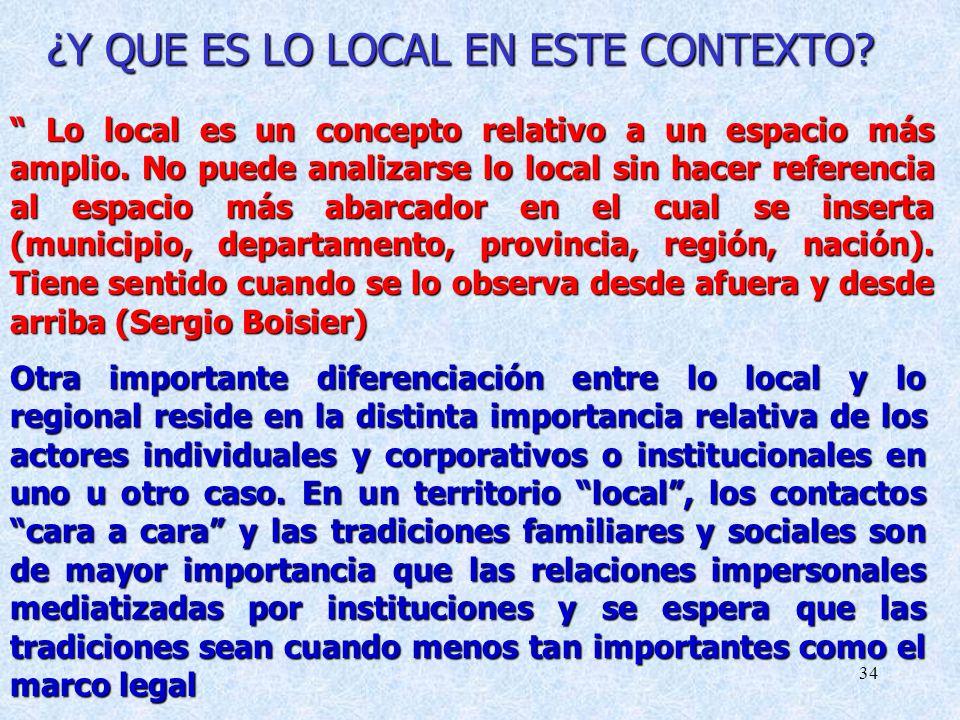 34 ¿Y QUE ES LO LOCAL EN ESTE CONTEXTO.Lo local es un concepto relativo a un espacio más amplio.