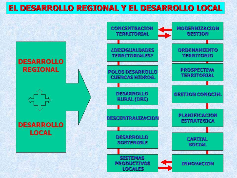 37 EL DESARROLLO REGIONAL Y EL DESARROLLO LOCAL CONCENTRACIONTERRITORIAL ¿DESIGUALDADES TERRITORIALES.