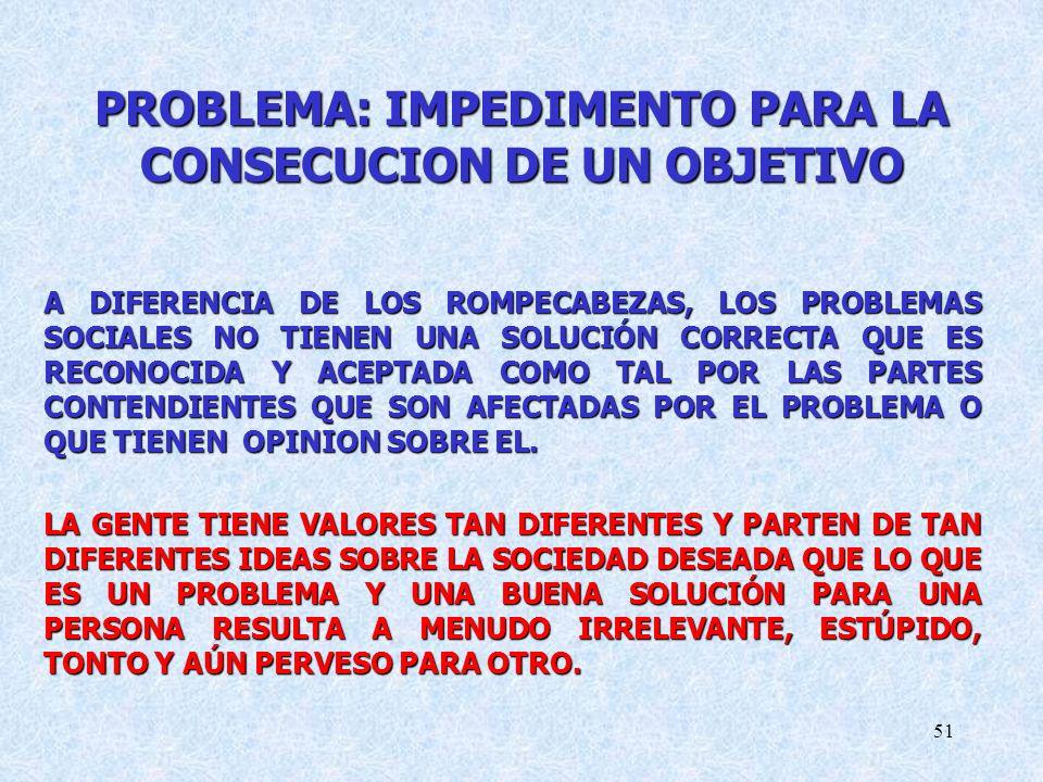 51 PROBLEMA: IMPEDIMENTO PARA LA CONSECUCION DE UN OBJETIVO A DIFERENCIA DE LOS ROMPECABEZAS, LOS PROBLEMAS SOCIALES NO TIENEN UNA SOLUCIÓN CORRECTA QUE ES RECONOCIDA Y ACEPTADA COMO TAL POR LAS PARTES CONTENDIENTES QUE SON AFECTADAS POR EL PROBLEMA O QUE TIENEN OPINION SOBRE EL.