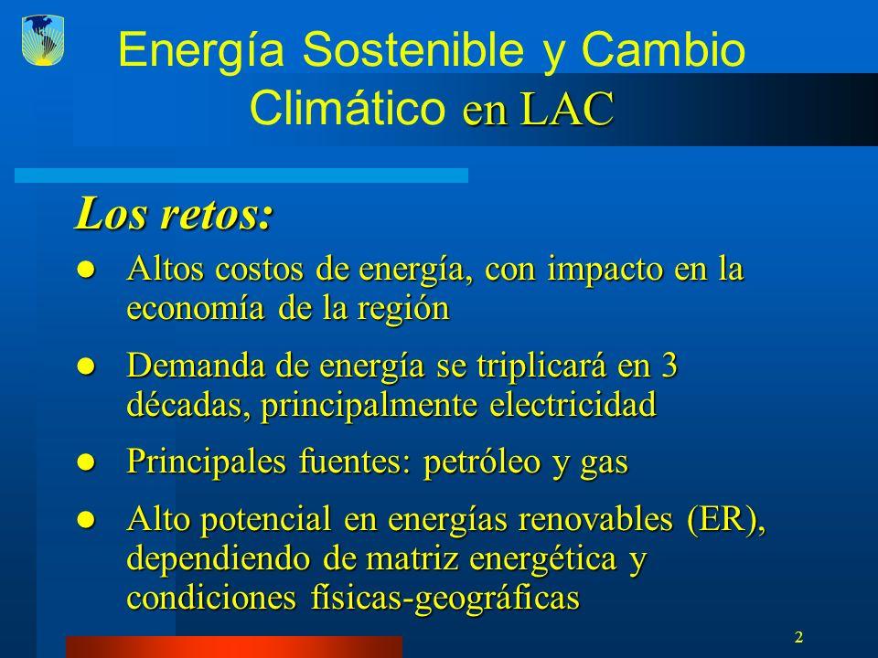 33 : Nueva Facilidad de Financiamiento -- SECCI Proveer recursos (de fuentes propias y de multidonantes) para generar inversión y proveer apoyo en el área de ER, EE y mercados de carbono