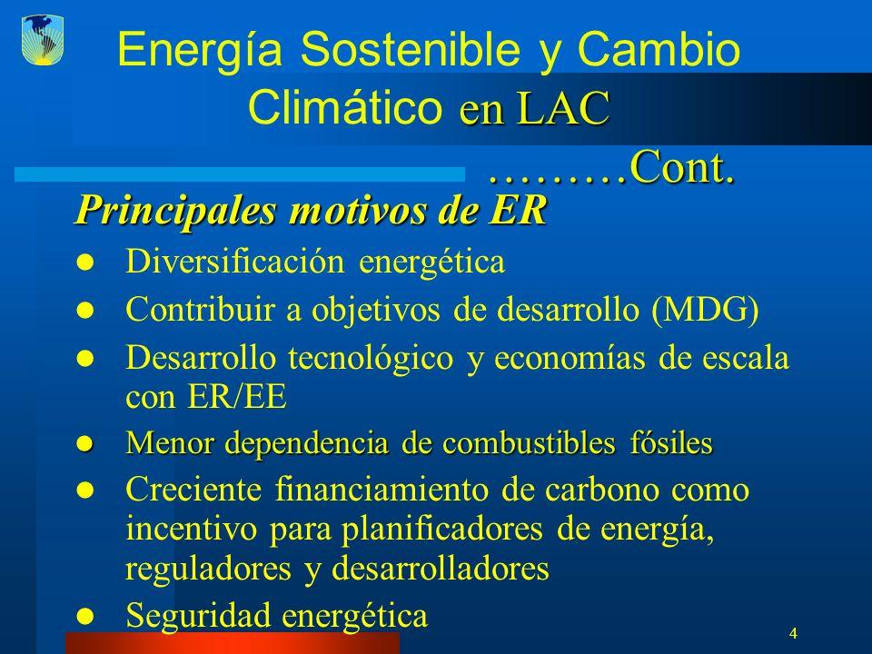 5 en LAC ………Cont.Energía Sostenible y Cambio Climático en LAC ………Cont.