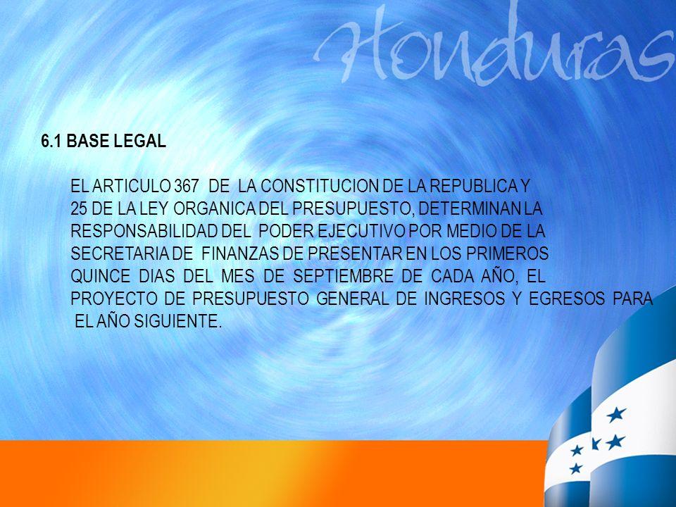 6.1 BASE LEGAL EL ARTICULO 367 DE LA CONSTITUCION DE LA REPUBLICA Y 25 DE LA LEY ORGANICA DEL PRESUPUESTO, DETERMINAN LA RESPONSABILIDAD DEL PODER EJE