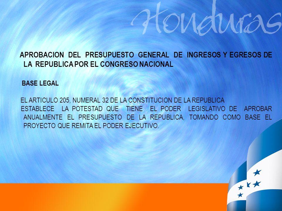 APROBACION DEL PRESUPUESTO GENERAL DE INGRESOS Y EGRESOS DE LA REPUBLICA POR EL CONGRESO NACIONAL BASE LEGAL EL ARTICULO 205, NUMERAL 32 DE LA CONSTIT