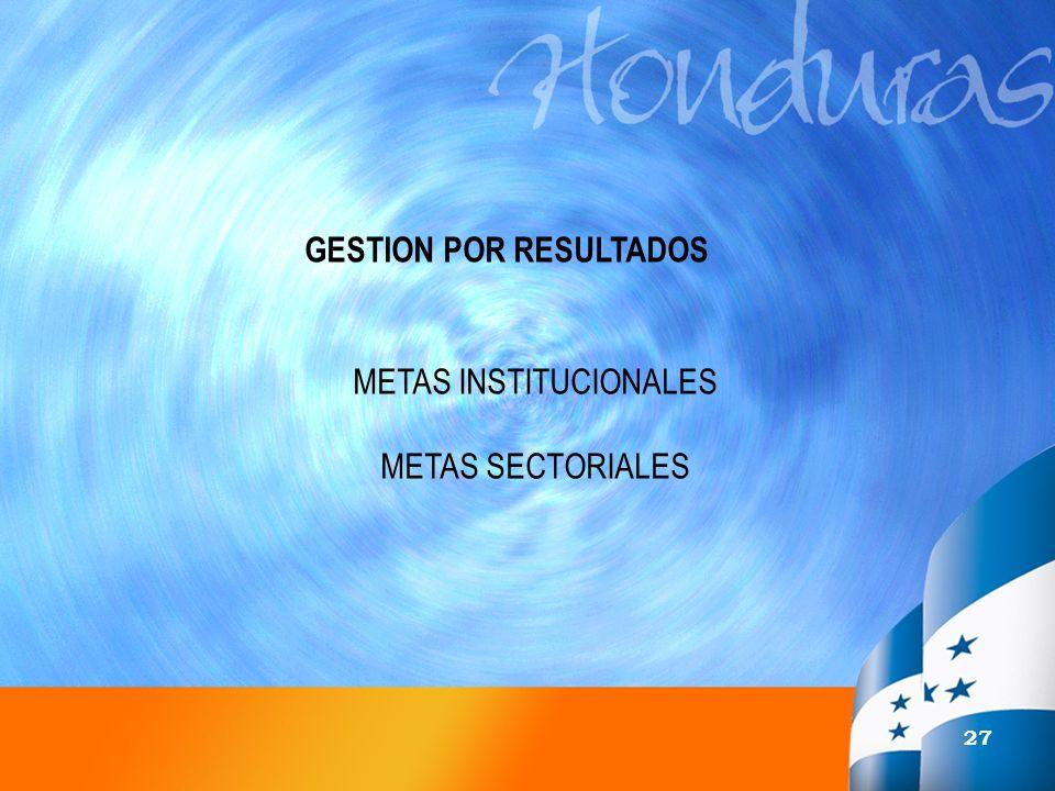 27 GESTION POR RESULTADOS METAS INSTITUCIONALES METAS SECTORIALES