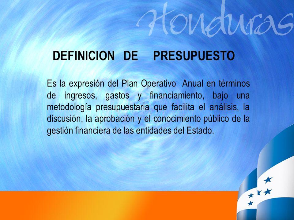 DEFINICION DE PRESUPUESTO Es la expresión del Plan Operativo Anual en términos de ingresos, gastos y financiamiento, bajo una metodología presupuestar