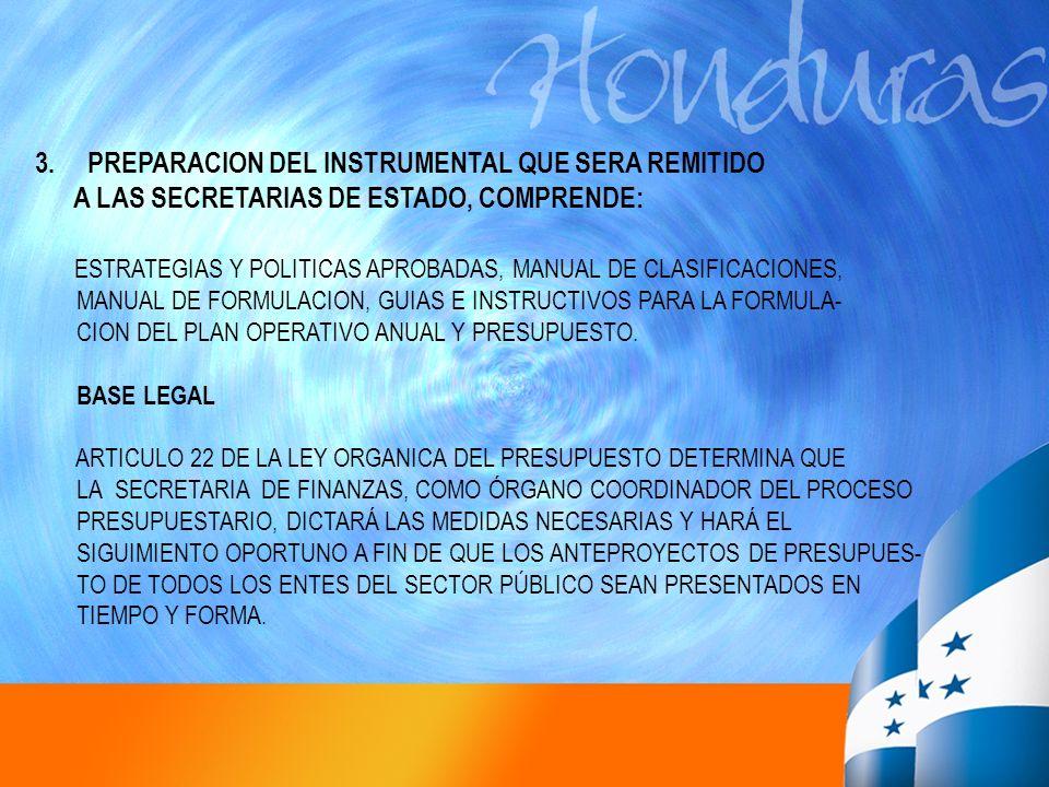 3.PREPARACION DEL INSTRUMENTAL QUE SERA REMITIDO A LAS SECRETARIAS DE ESTADO, COMPRENDE: ESTRATEGIAS Y POLITICAS APROBADAS, MANUAL DE CLASIFICACIONES,