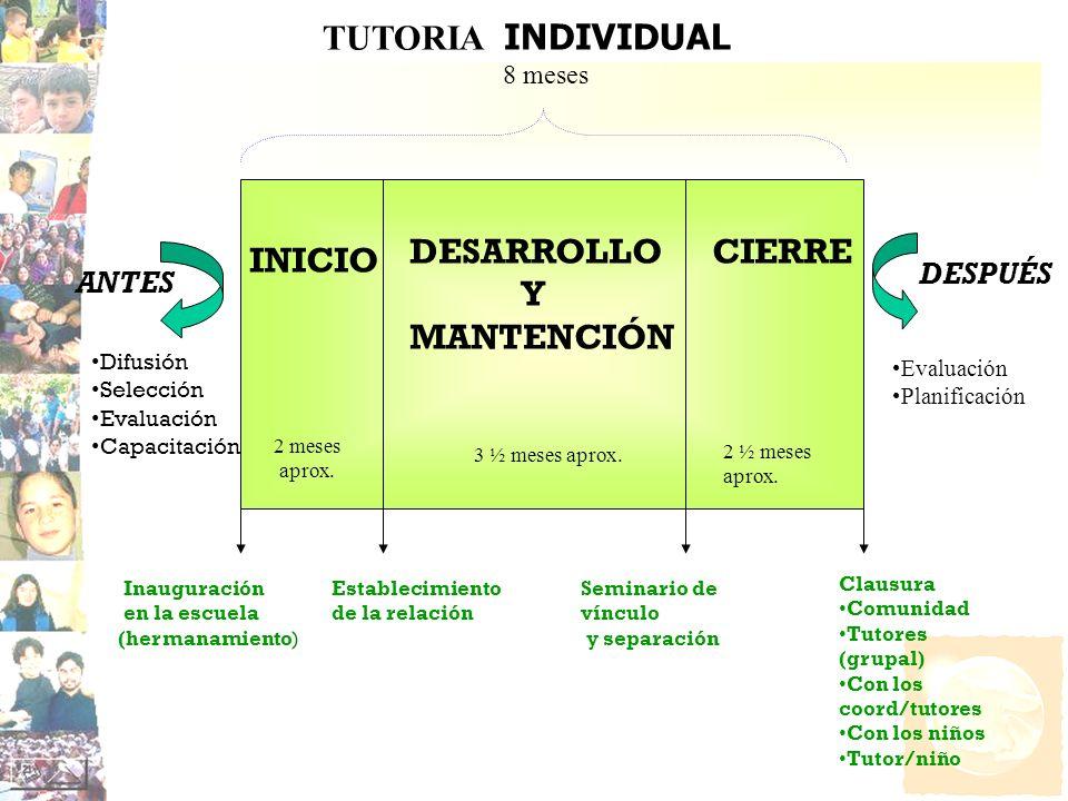 Establecimiento de la relación INICIO DESARROLLO Y MANTENCIÓN CIERRE Inauguración en la escuela (hermanamiento) Seminario de vínculo y separación Clau