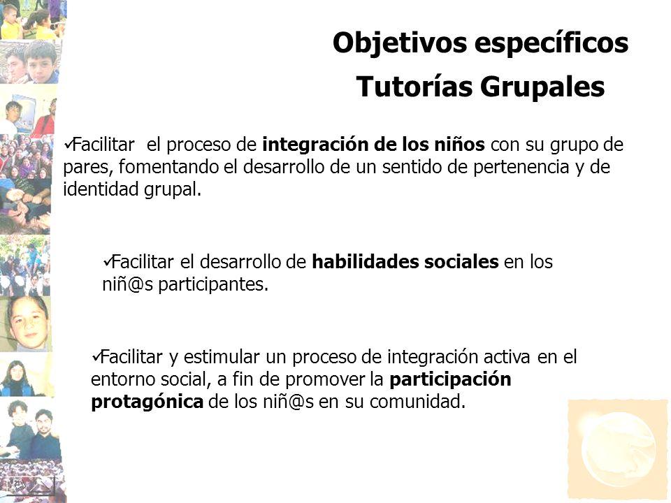 Objetivos específicos Tutorías Grupales Facilitar el proceso de integración de los niños con su grupo de pares, fomentando el desarrollo de un sentido