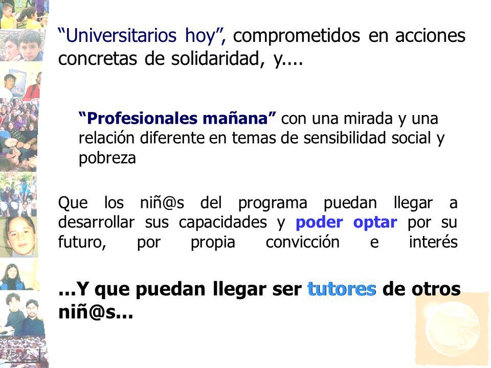 Profesionales mañana con una mirada y una relación diferente en temas de sensibilidad social y pobreza Universitarios hoy, comprometidos en acciones c