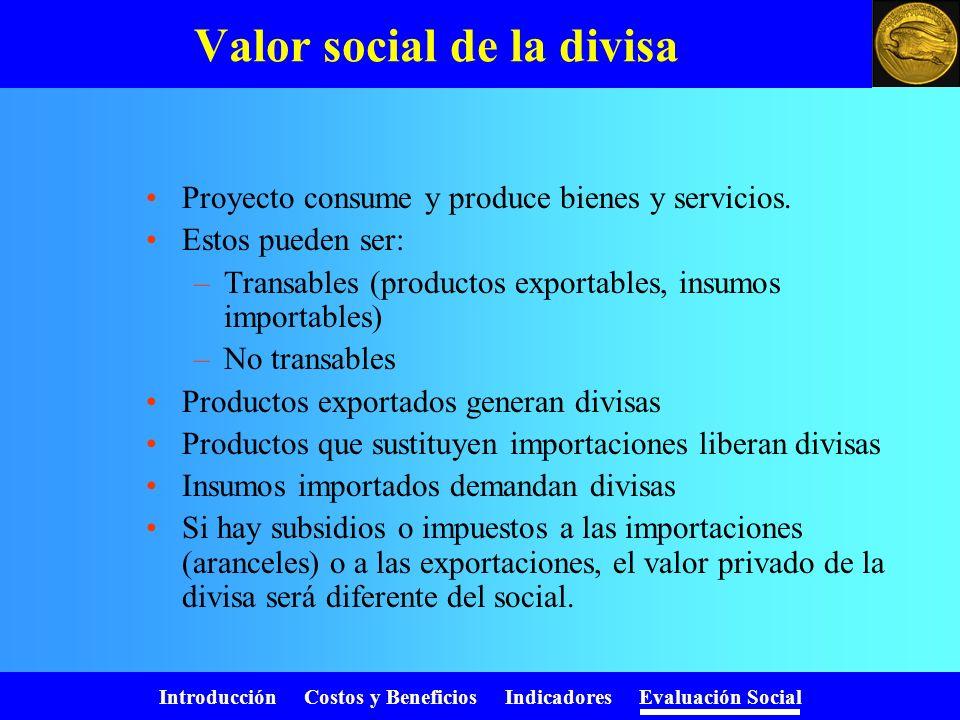 Introducción Costos y Beneficios Indicadores Evaluación Social Valor social del trabajo PaísCategoríaFactor de ajusteReferencias Bolivia Calificada Se