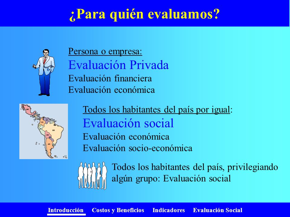 Introducción Costos y Beneficios Indicadores Evaluación Social Referencias Reflections on Social Project Evaluation, Harberger, A.Reflections on Social Project Evaluation Economic Project Evaluation, Part 1: Some Lessons for the 1990s, Harberger, A. Economic Project Evaluation, Part 1: Some Lessons for the 1990s Metodología de evaluación socioeconómica de inversiones nacionales y extranjeras; Ferra, Coloma y Botteon, Claudia.Metodología de evaluación socioeconómica de inversiones nacionales y extranjeras Errores más frecuentes en la evaluación de políticas y proyectos, Joan Pasqual Rocabert y Guadalupe Souto Nieves.Errores más frecuentes en la evaluación de políticas y proyectos